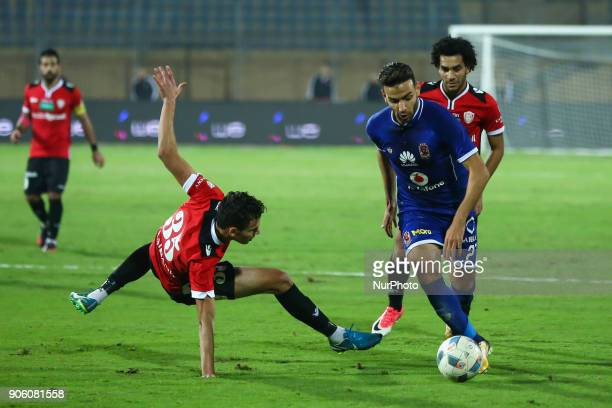 Alahly's Mido Gaber in action during the Egypt Primer League Fixtures 18 Match Between AlAhly and AlGish in Cairo on 16 January 2018 Al Ahli beat...