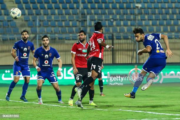 AlAhly's Mido Gaber scores a goal during the Egypt Primer League Fixtures 18 Match Between AlAhly and AlGish in Cairo on 16 January 2018 Al Ahli beat...