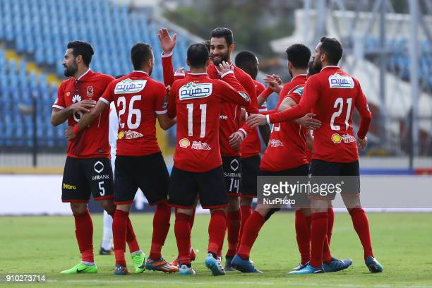 Alahly's players celebrate after scoring a goal during the Egypt Primer League Fixtures 20 Match Between AlAhly and AlRajaa in Alexandria Stadium on...