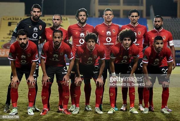AlAhly's players pose before their Egyptian Premier League football match against Zamalek at Petrosport Stadium in Cairo on December 29 2016 / AFP /...