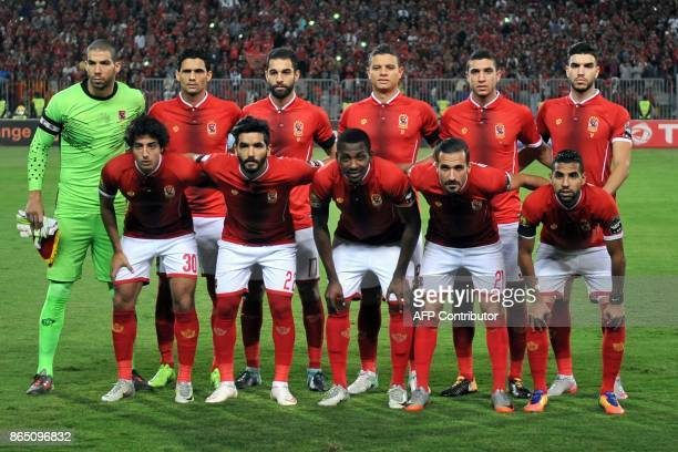 AlAhly's starting evelen pose for a group picture during the CAF Champions League semifinal football match between AlAhly vs Etoile du Sahel at the...
