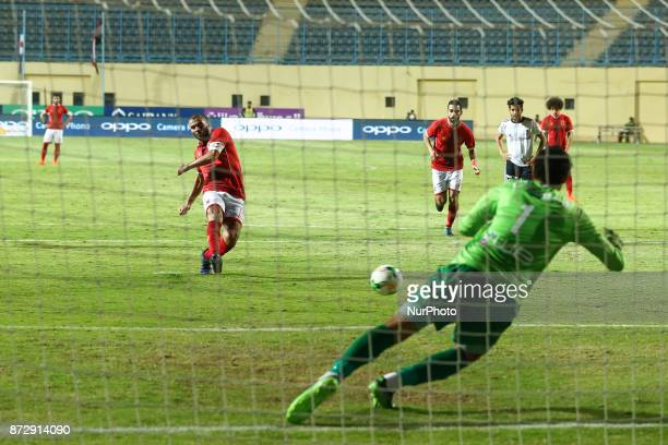 AlAhly's Walid Azaro scores a penalty during Egypt Cup 32th Round match between AlAhly and Beni Suef at Cairo Stadium in Cairo Egypt on 10 November...