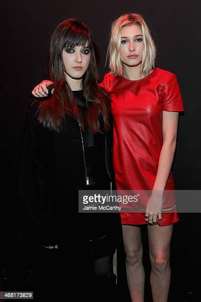 Alaia Baldwin and Hailey Rhode Baldwin attend the Brian Lichtenberg fashion show at The Hub at The Hudson Hotel on February 9 2014 in New York City