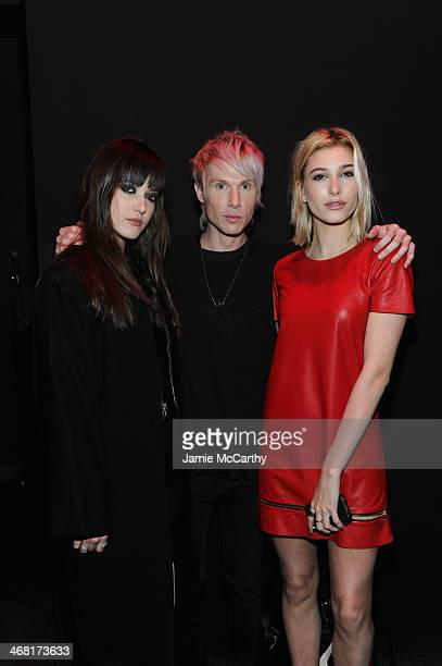 Alaia Baldwin designer Brian Lichtenberg and Hailey Rhode Baldwin at the Brian Lichtenberg fashion show at The Hub at The Hudson Hotel on February 9...