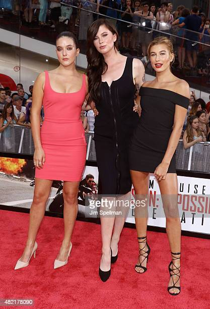 Alaia Baldwin Ireland Baldwin and Hailey Rhode Baldwin attend the 'Mission Impossible Rogue Nation' New York premiere at Times Square on July 27 2015...
