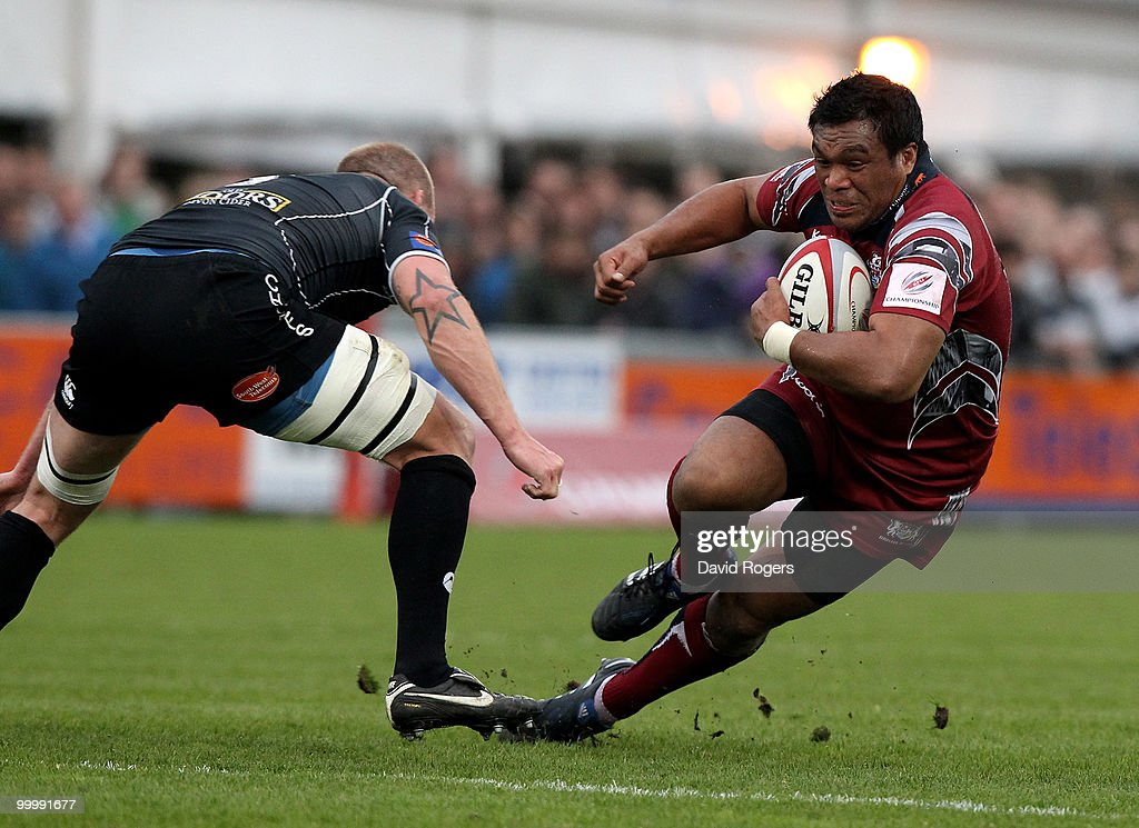 Alaifatu Fatialofa of Bristol takes on James Scaysbrook during the Championship playoff final match, 1st leg between Exeter Chiefs and Bristol at Sandy Park on May 19, 2010 in Exeter, England.