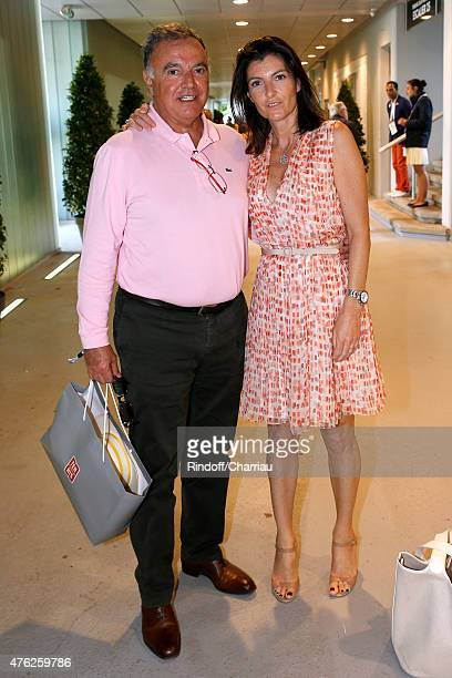 Alain Afflelou with his wife Christine attend the Men Final of 2015 Roland Garros French Tennis Open Day Fithteen on June 7 2015 in Paris France