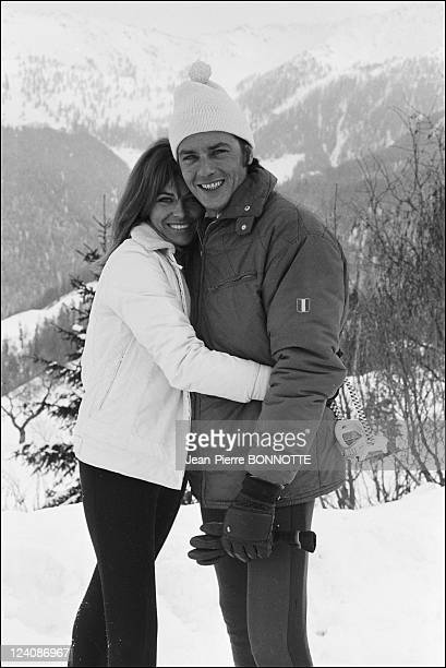 Alain and Nathalie Delon In Verbier Switzerland In January 1967