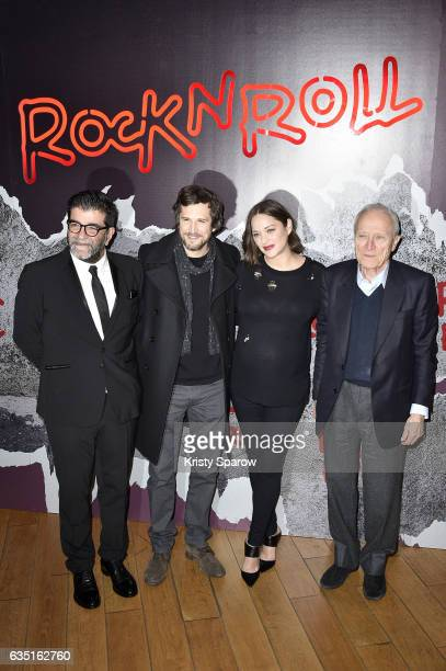 Alain Attal Guillaume Canet Marion Cotillard and Jerome Seydoux attend the Rock'N Roll Premiere at Cinema Pathe Beaugrenelle on February 13 2017 in...