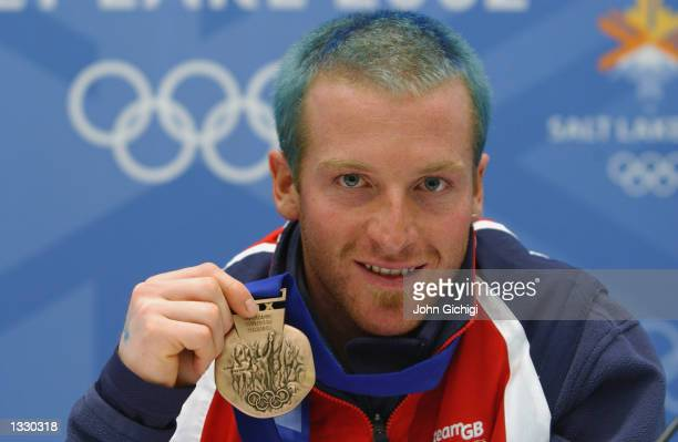 Alain Baxter of Great Britain in happy mood during his press conference today in the Main Media Center after winning the bronze medal in the Men's...