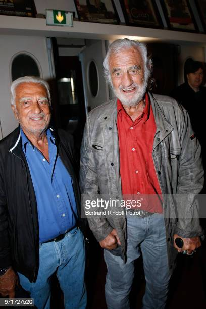 Alain Belmondo and his brother JeanPaul Belmondo attend L'Entree des Artistes Theater School by Olivier Belmondo at Theatre Des Mathurins on June 11...