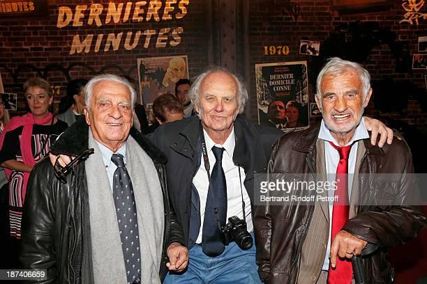 Alain Belmondo journalist Christian Brincourt and legendary actor JeanPaul Belmondo pose as they attend the 100th Anniversary Of The Paris Judiciary...