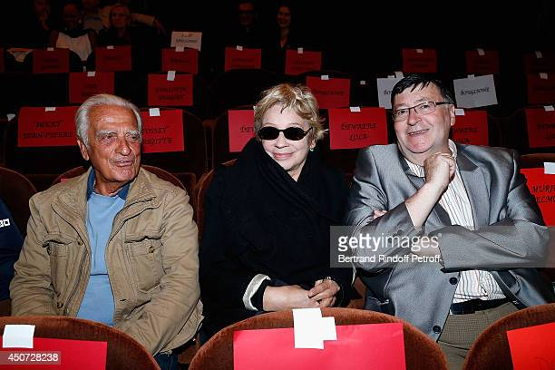 Alain Belmondo Muriel Belmondo and Guy Posley aattend the 'Concours D'Art Dramatique' at Theatre Antoine on June 16 2014 in Paris France