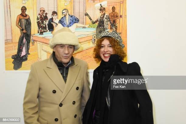 Alain Benoist and Lydia Goldberg from Facade magazine attend Lenedy Angot Calendar 2018 launch at Galerie Fabrice Hybert on December 1 2017 in Paris...