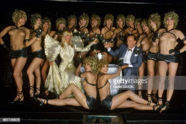 Alain Bernardin And Lova Moor With the Dancers of the Crazy Horse, Paris, June 24, 1985.