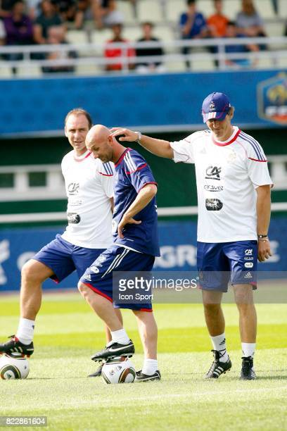 Alain BOGHOSSIAN / Laurent BLANC / Fabien BARTHEZ Entrainement Equipe de France Clairefontaine