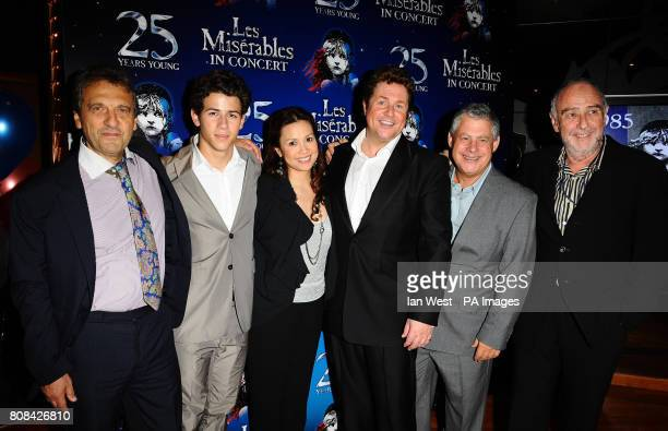 Alain Boublil Nick Jonas Lea Salonga Michael Ball Cameron Mackintosh and ClaudeMichel Schonberg at the after party of the Les Miserables Anniversary...