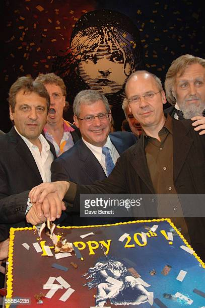 Alain Boublil Sir Cameron Mackintosh and John Caird at the 20th Anniversary Celebration of Les Miserables show at the Queens Theatre on October 8...