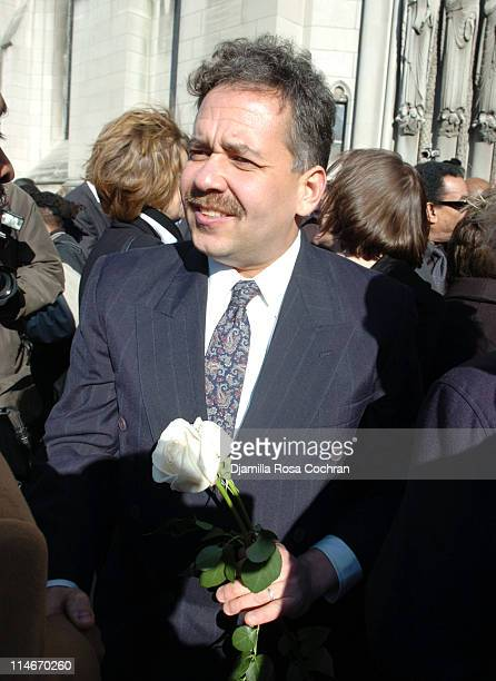 Alain Brouillaud on the steps of Riverside Church following the funeral service for Photographer Gordon Parks on March 14 2006 in New York City
