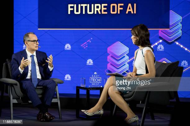 Alain C. Benichou, CEO of Greater China Group of IBM Corporation speaks with Nancy Hungerford, anchor of CNBC on Day 2 of CNBC East Tech West at LN...