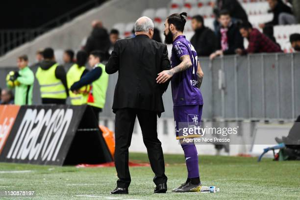 Alain Casanova head coach of Toulouse and Jimmy Durmaz during the Ligue 1 match between Nice and Toulouse at Allianz Riviera Stadium on March 15 2019...