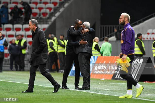 Alain Casanova head coach of Toulouse and Patrick Vieira head coach of Nice during the Ligue 1 match between Nice and Toulouse at Allianz Riviera...