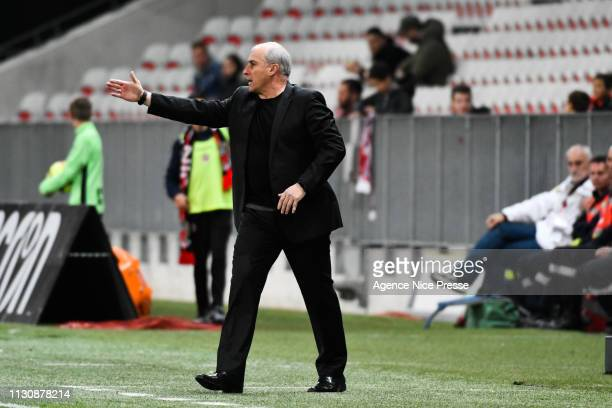 Alain Casanova head coach of Toulouse during the Ligue 1 match between Nice and Toulouse at Allianz Riviera Stadium on March 15 2019 in Nice France