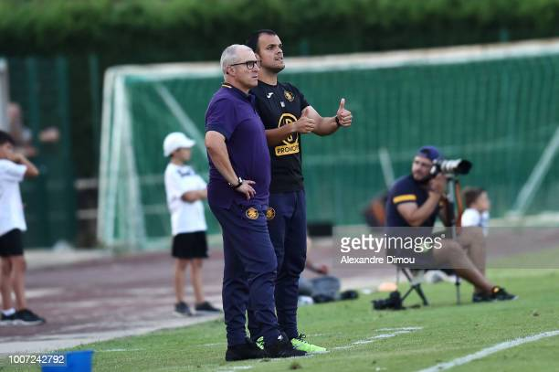 Alain Casanova new head coach and Jonathan Alves assistant coach of Toulouse during the friendly match between Nimes and Toulouse at Stade des...