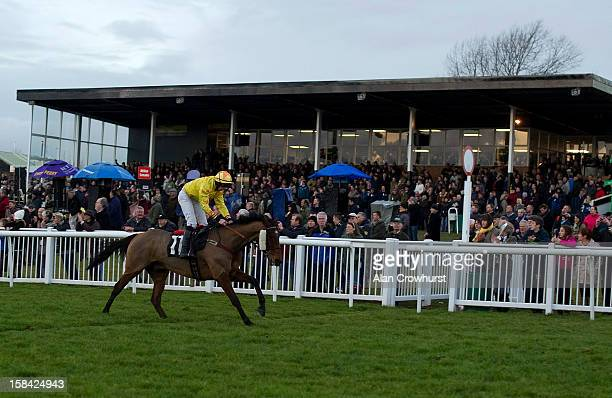 Alain Cawley riding Seymour Eric win The Thermolast Handicap Hurdle Race the last race of the day during the last meeting to be held at Hereford...