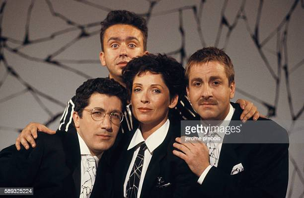 Alain Chabat Dominque Farrugia Chantal Lauby and Bruno Carette of the French comic band Les Nuls on Canal Plus