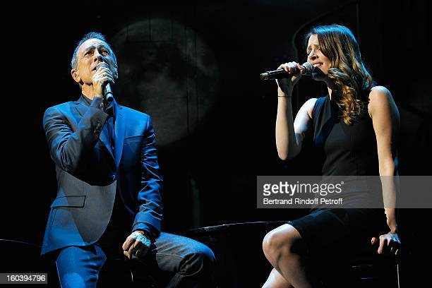 Alain Chamfort and Elodie Frege perform at Le Grand Rex on January 30 2013 in Paris France