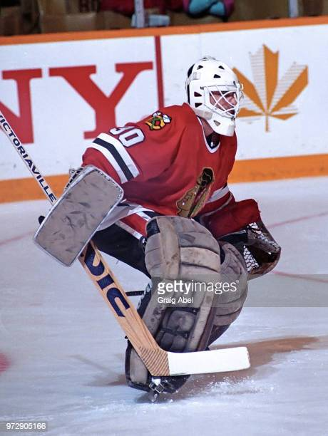 Alain Chevrier of the Chicago Black Hawks skates against the Toronto Maple Leafs during NHL game action on December 23 1989 at Maple Leaf Gardens in...