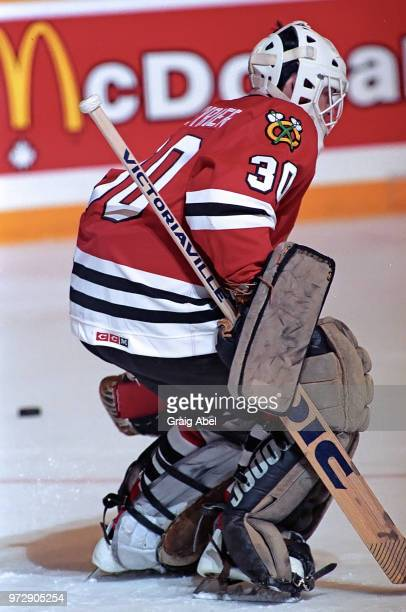 Alain Chevrier of the Chicago Black Hawks skates against the Toronto Maple Leafs during NHL game action on January 15 1990 at Maple Leaf Gardens in...