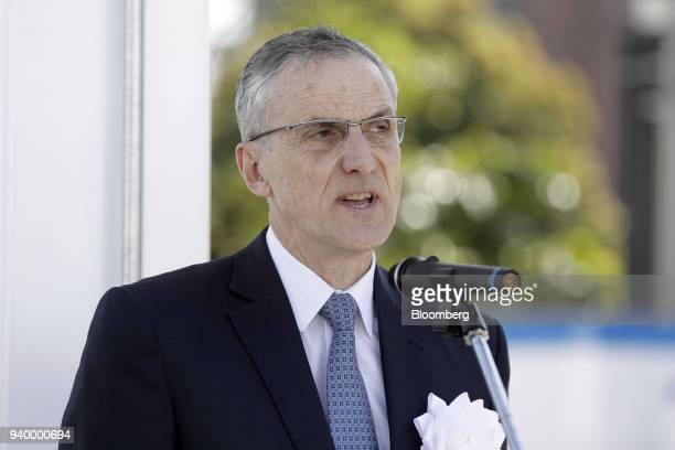 Alain Combier chairman of Air Liquide Japan Ltd speaks during the opening ceremony of the company's Kawasaki Hydrogen Station in Kawasaki Kanagawa...