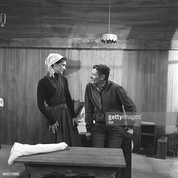 Alain Cuny and Maria Casarès in a scene of the play D'Albert Camus 'The misunderstanding' realized by Maurice Cazeneuve