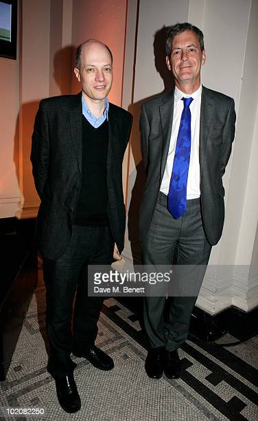 Alain de Botton and Mark Jones attend the private view of '11 Architects Build Small Spaces' at Victoria Albert Museum on June 14 2010 in London...