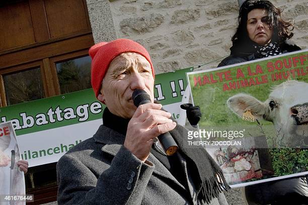 Alain de Peretti, president of French association Vigilance Halal, speaks during a demonstration against a bovine fattening centre project, the...