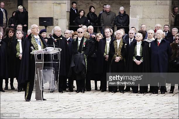 Alain Decaux Erik Orsenna JeanMarie Rouart Pierre Messmer in Paris France on January 29 2007
