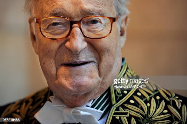 Alain Decaux member of the French Academy leaves the Institut de France after a ceremony for French Philosopher JeanLuc Marion to present him with...