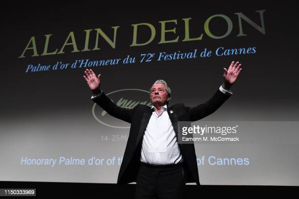 Alain Delon accepts the Palme d'Or d'Honneur during the Ceremony for Palme Honneur during during the 72nd annual Cannes Film Festival on May 19, 2019...