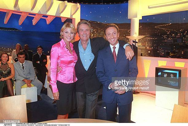 Alain Delon Alexandra Bronkers Stephane Bern at Transmission Of Celebrites