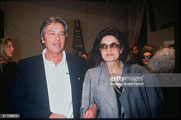 Alain Delon and Anouk Aimee Ungaro ready to wear fashion show spring summer 1993 collection in Paris