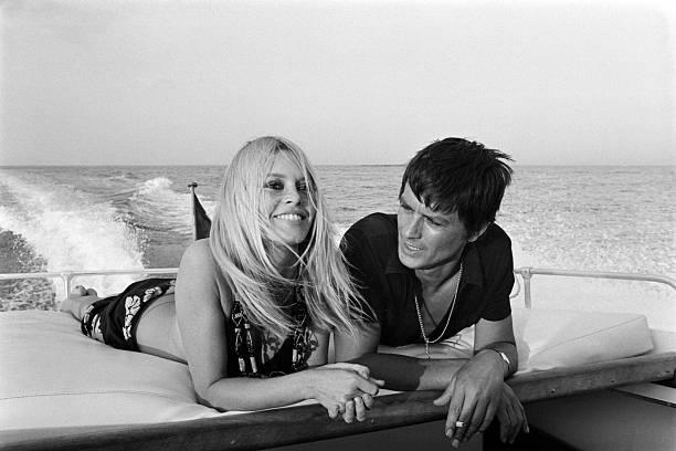 Alain Delon and Brigitte Bardot in Saint -Tropez
