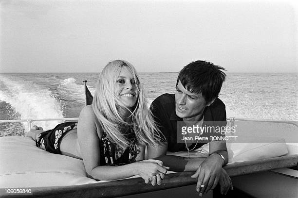 Alain Delon and Brigitte Bardot in 1968 in Saint Tropez France