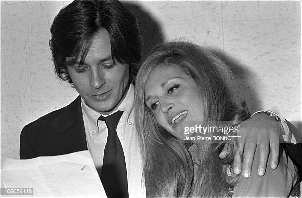 Alain Delon and Dalida recording the song Paroles Paroles in November 1972 in France
