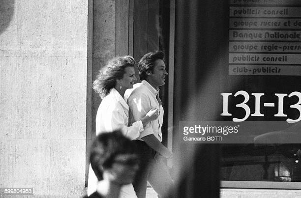 Alain Delon And Dalila Di Lazzaro On The Set Of The Movie 'Trois Hommes A Abattre' Directed By Jacques Deray In Paris France In August 1980
