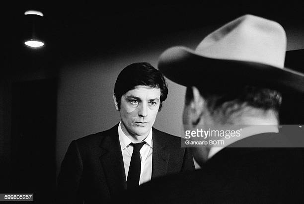 Alain Delon And Director JeanPierre Melville On The Set Of The Movie 'Le Cercle Rouge' In Paris France In March 1970