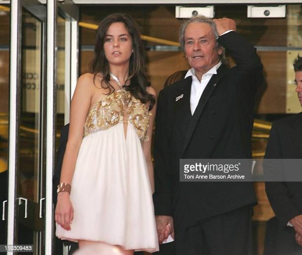Alain Delon and his daughter Anouchka during 2007 Cannes Film Festival Palme D'Or Arrivals at Palais des Festivals in Cannes France