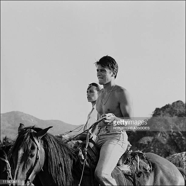 Alain Delon and his wife Nathalie in Mexico on January 29 1965