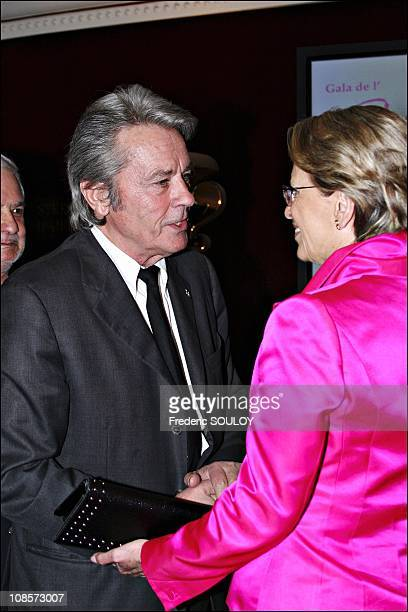 Alain Delon and Michele Alliot Marie in Paris France on May 30th 2005
